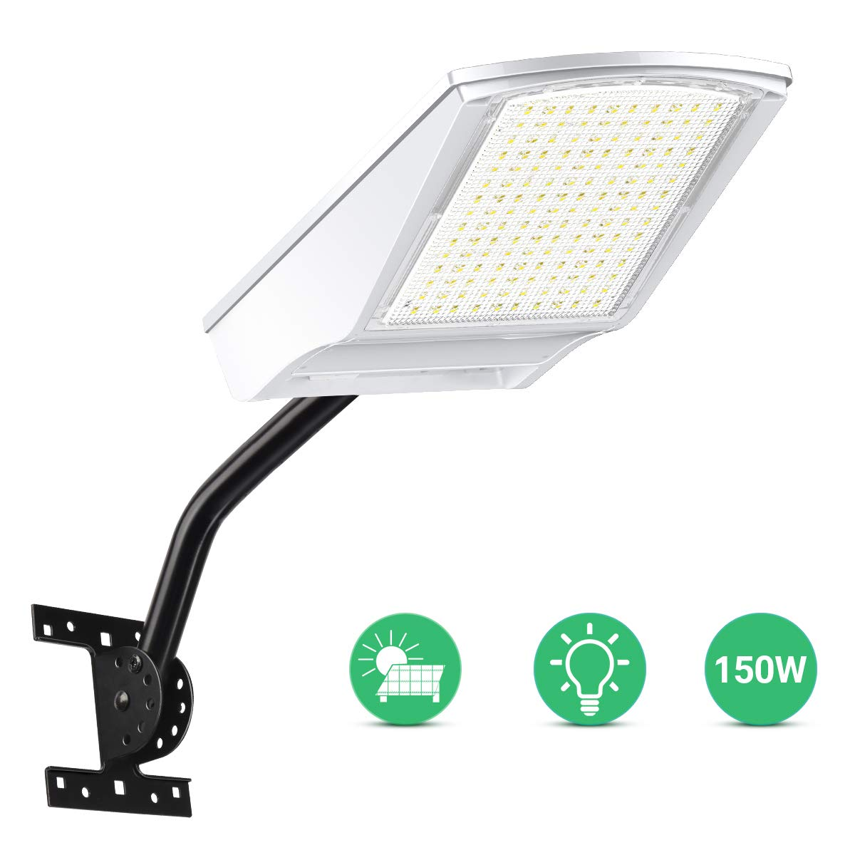 Solar Street Light,150W Motion Sensor Solar Light LED Flood Light All-in-one Design Solar Wall Light Lighting Waterproof for Garden, Outdoor, Yard,Pathway, Basketball Court,Garage 150 LED with Pole
