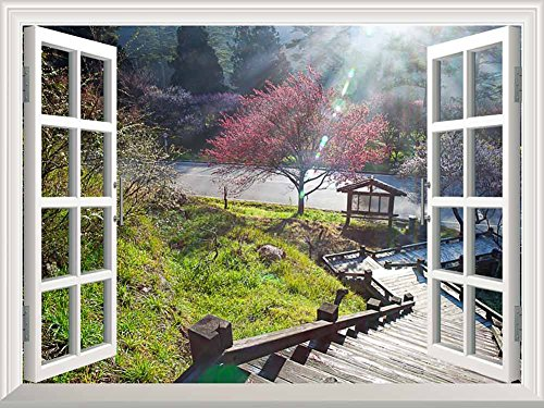 Wall26 - Modern White Window Looking Down Into a Stairway That Leads to a Japanese Garden with a Kiosk - Wall Mural, Removable Sticker, Home Decor - 24x32 - Garden Kiosk