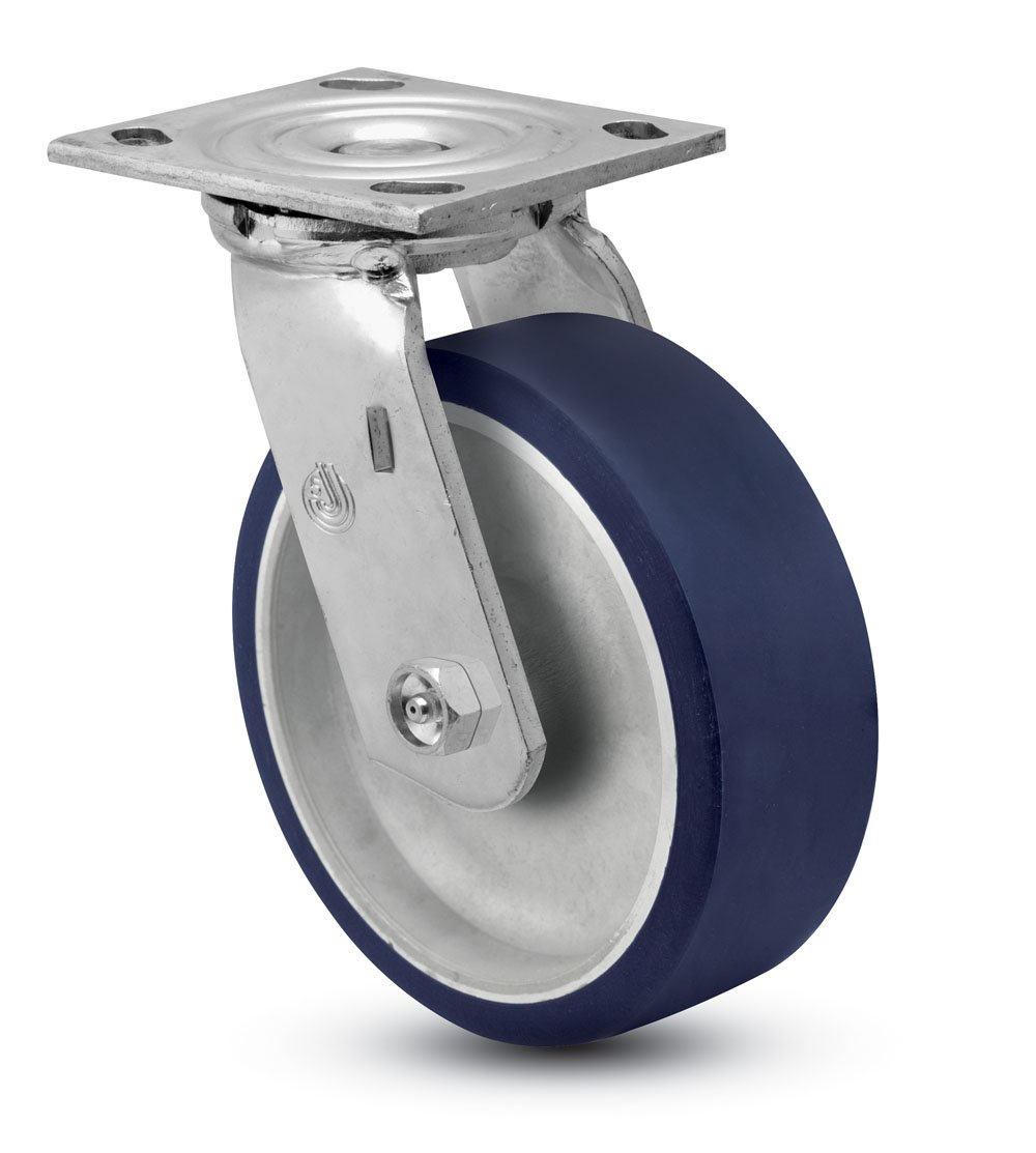 Jarvis 81 Series 6'' Diameter Moldon Polyurethane with Aluminum Core Wheel Swivel Plate Caster with Roller Bearing, 4-1/2'' Length X 4'' Width Plate, 1000 lbs Capacity