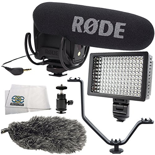 Rode VideoMic Pro with Rycote Lyre Shockmount 6PC Accessory Kit. Includes Rode DeadCat VMPR Artificial Fur Wind Shield + Hot Shoe Mount + Triple Hot Shoe Bracket + 160 LED Video Light + Cleaning Cloth