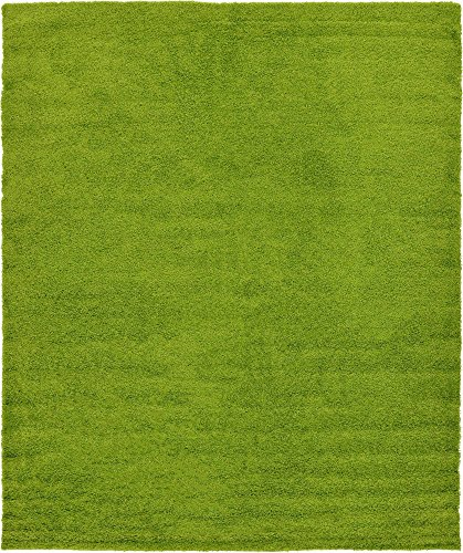 Unique Loom Solo Solid Shag Collection Modern Plush Grass Green Area Rug (12' 0 x 15' 0)