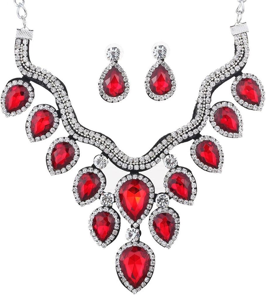 YAZILIND Lágrima Nupcial Pendiente cuelgan Collar Gargantilla Cristal Rojo joyería Plateada de Plata fijó para Las Mujeres