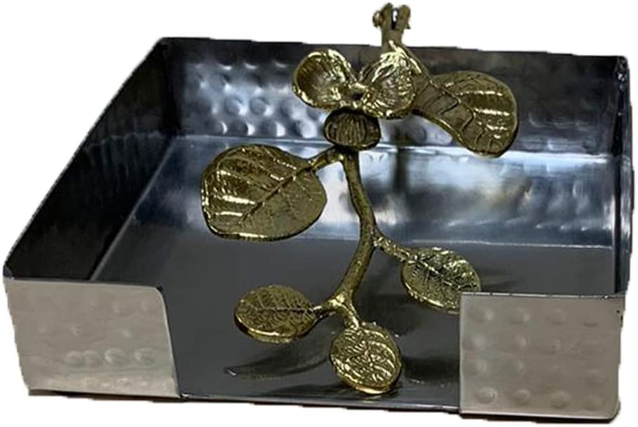 Decozen Napkin Holder with Orchid Accent Swing Arm for Outdoor and Indoor Use Easy to Clean for Presentable Table Look Table Décor Item Square Napkin Holder 5.50 x 5 x 2 Inches
