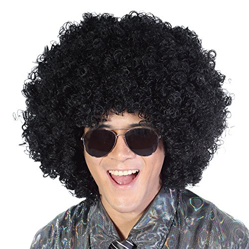 Black Mega Jumbo Afro Wig-Large Kinky Fluffy Synthetic Halloween Party Costume Hippie 70s Punk Rocker Cosplay Disco Clown Fancy Funny Wigs