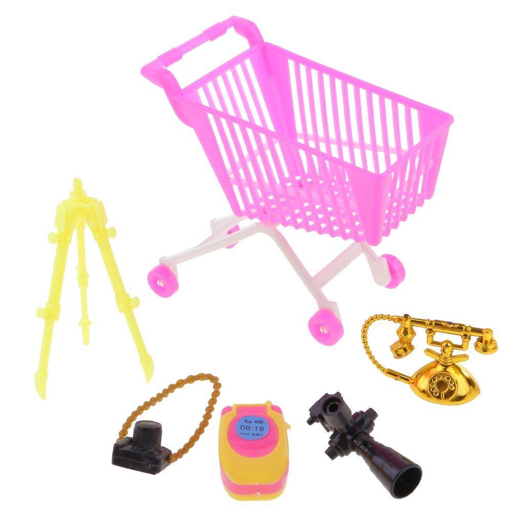 MonkeyJack 5pieces Supermarket Shopping Cart Handcart Camera Phone Set For 12'' 1/6 Doll Barbies Kelly Ken