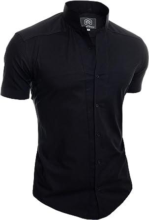 Camisa de Sin Cuello Mao para Hombre Manga Corta Formal Vacaciones Comfort Slim: Amazon.es: Ropa y accesorios