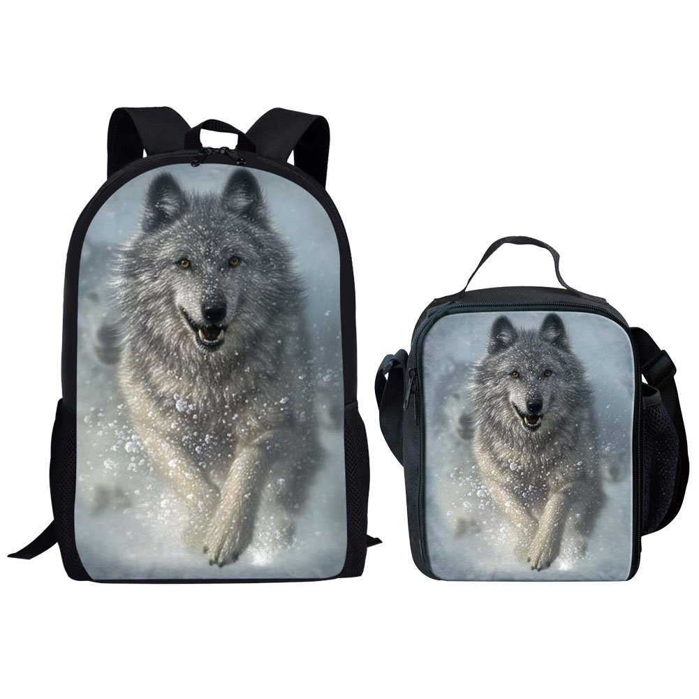 - Y-W1699C+G Blanc HUGS IDEA Sac /à dos enfants Cool Wolf Set
