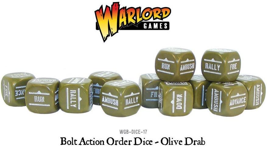 Olive Drab Pack Of 12 Bolt Action Orders Dice: Amazon.es: Juguetes y juegos