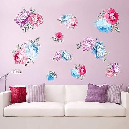 Decalmile Rosa Rose Fiore Adesivi Da Parete Removibile Stickers Murali Per Casa Hotel Ufficio Soggiorno Camera Da Letto Decorazioni Casa E Cucina Decorazioni Per Interni