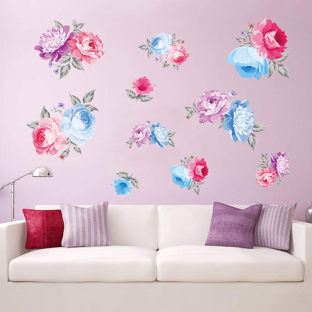 decalmile Wandtattoo Blumen Rosa Rosen Wandsticker Wohnzimmer Schlafzimmer Wanddeko