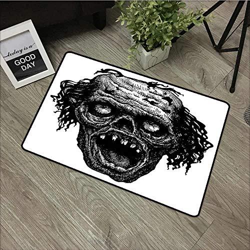 Modern Doormat Halloween Zombie Head Evil Dead Man Portrait Fiction Creature Scary Monster Graphic All Season Universal 24