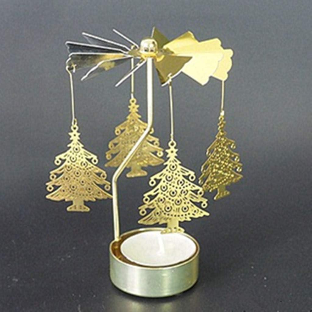 SIRIGOGO Rotating Candlestick Christmas Candle Spinner 3.15x5.12 Christmas tree Rotary Spinning Candle Holder for Christmas Wedding Home Decor Gifts Metal Tealight Candlestick