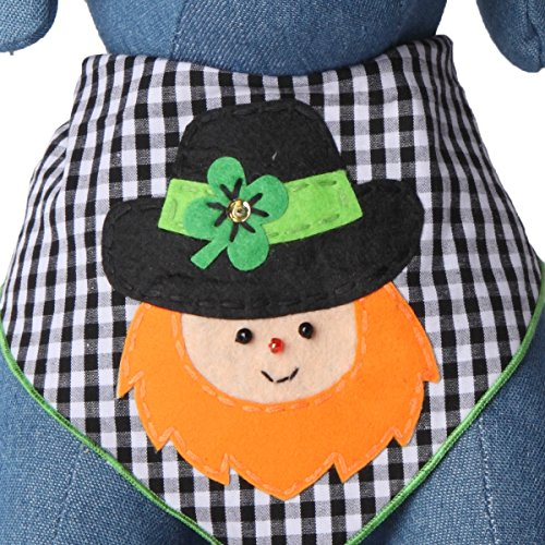Tail Trends St. Patricks Day Dog Bandanas with Leprechaun Designer Applique for Medium to Large Sized Dogs - 100% Cotton (M)