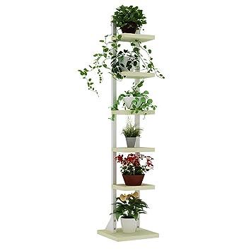 Holz Blumenregal Weiß Schwarz Lackierter Stahlbügel