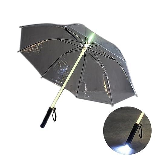 SPRINGWT Paraguas que cambia de color, luz fría y luminosa LED, paraguas brillante, protector de noche, portátil, de viaje, transparente: Amazon.es: ...