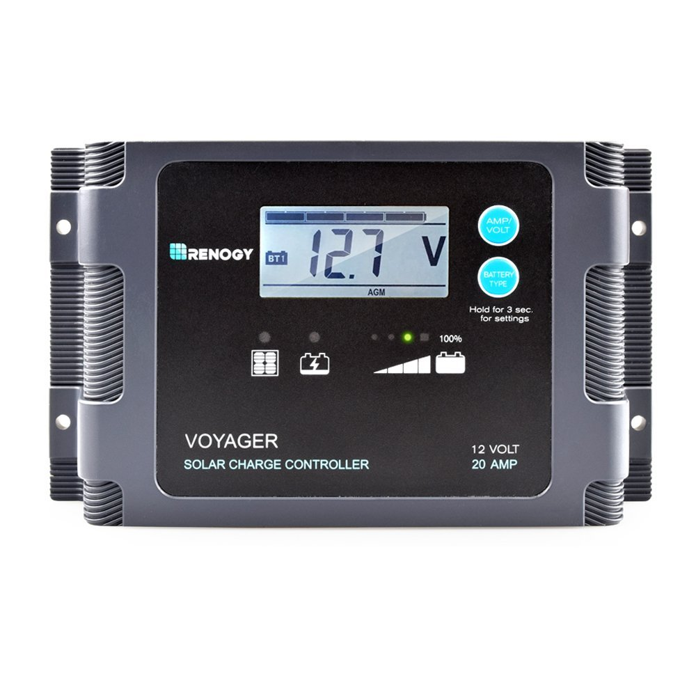 Renogy Voyager 20a Negative Ground Pwm Controller Waterproof Solar Charge W Lcd Display And Led Bar Dc Voltage Regulator Circuit Smart 30a 12v Garden Outdoor