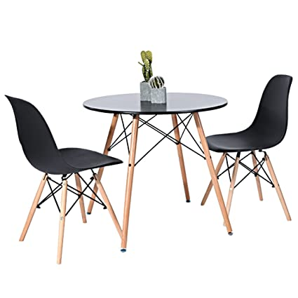 Amazoncom Kitchen Dining Table Round Coffee Table Black - Round pedestal conference table