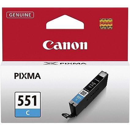 Canon CLI-551 C Cartucho de tinta original Cian para Impresora de Inyeccion de tinta Pixma MX725-MX925-MG5450-MG5550-MG5650-MG6350-MG6450-MG6650-MG715...