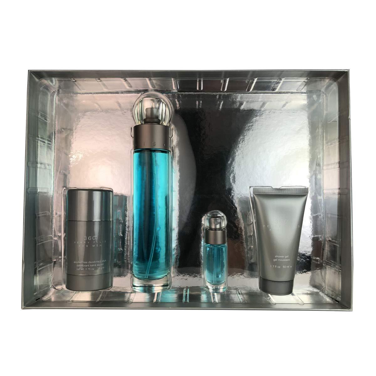 Perry Ellis 360 for Men 4-Piece Set Eau De Toilette Spray, 2.5 lb PE447M