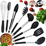 Kitchen Utensils, Silicone and Stainless Steel Heat-Resistant Non-Stick Cooking Tools, 8 Piece, Tongs, Spatulas, Pasta, Serving Spoon, Deep Ladle, Whisk Strainer and a Free Onion Holder