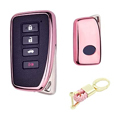 Royalfox(TM) 2/3/4 Buttons Soft TPU Smart keyless Remote Key Fob case Cover Shell for Lexus RX is CT GS NX ES RC RCF GSF es300 es330 es350 RC200 RC300 RC350 is300 is250 is350 (Pink)