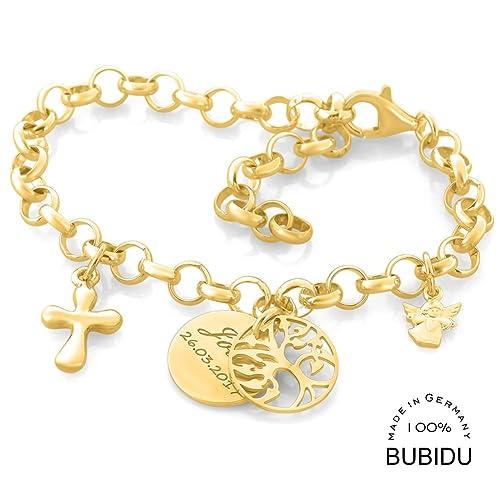 Taufarmband Gold Lebensbaum Engel Kreuz Namensschmuck