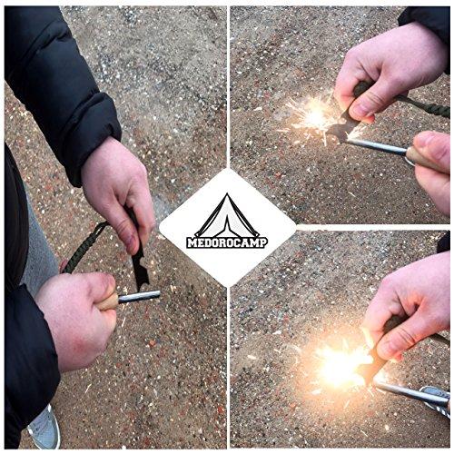MedoroCamp FireSteel with Wooden Handle l Firestarting tool Steel Striker and Paracord | Ferrocerium Rod Fire Starter for Emergency Travel-Friendly Camping Survival Kit Fire Flint Idea Gift Item by Medorocamp