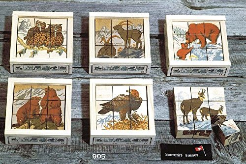 (Atelier Fischer Wooden Block Cube Puzzle in Wooden Case - Wild Animals (9 Pieces))