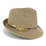 1 3/4'' Wide Brim Panama Roll up Fedora Sun Hat Beach Cap (B-Choco)