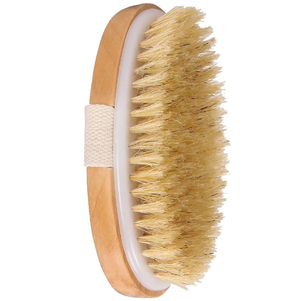 Dry Skin Body Brush - Natural Boar Bristles Improves Skin\'s Health Remove Dead Skin Toxins Cellulite Treatment Improves Lymphatic Functions Exfoliates Stimulates Blood Circulation
