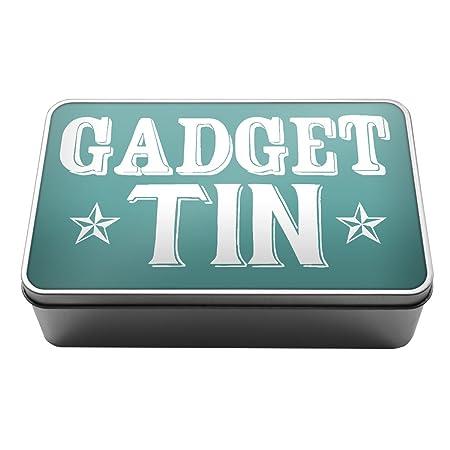 turquoise gadget tin stuff box gift idea wires metal storage tin box