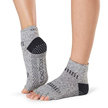 Toesox Grip Pilates Barre Socks-Non Slip Ankle Half Toe For Yoga & Ballet Calcetines, Mujer