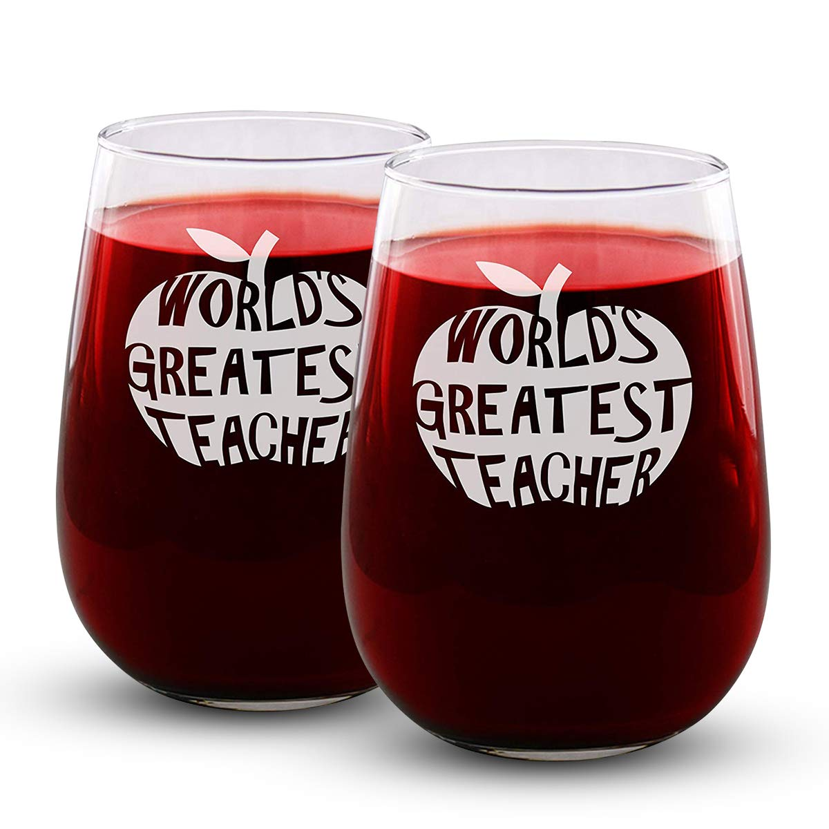 Stemless Sandblast Creations Worlds Greatest Teacher Funny Gifts for Men and Women Teachers Appreciation 17oz - Engraved Wine Glass 2 Pack