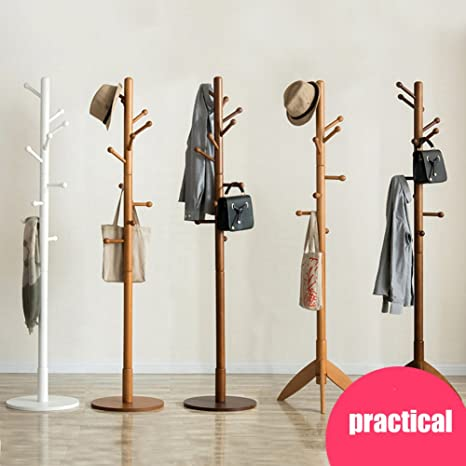 SWEET&HONEY Cloth hanger rack stand Tree hat hanger holder Free standing Solid wood coat rack Floor hanger For bedroom Living room Hall-10-hooks-O ...
