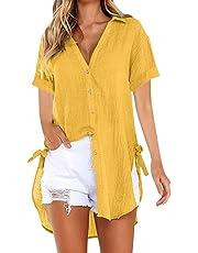 LINYIOU77 Womens Blouse Summer Womens Loose Tops Plus Size Button Long Shirt Dress Cotton Ladies Casual T-Shirt