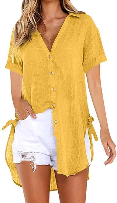 Camiseta Mujer Botón Suelto Vestido Largo Camisa Damas de Algodón Tops Casuales Blusa: Amazon.es: Ropa y accesorios
