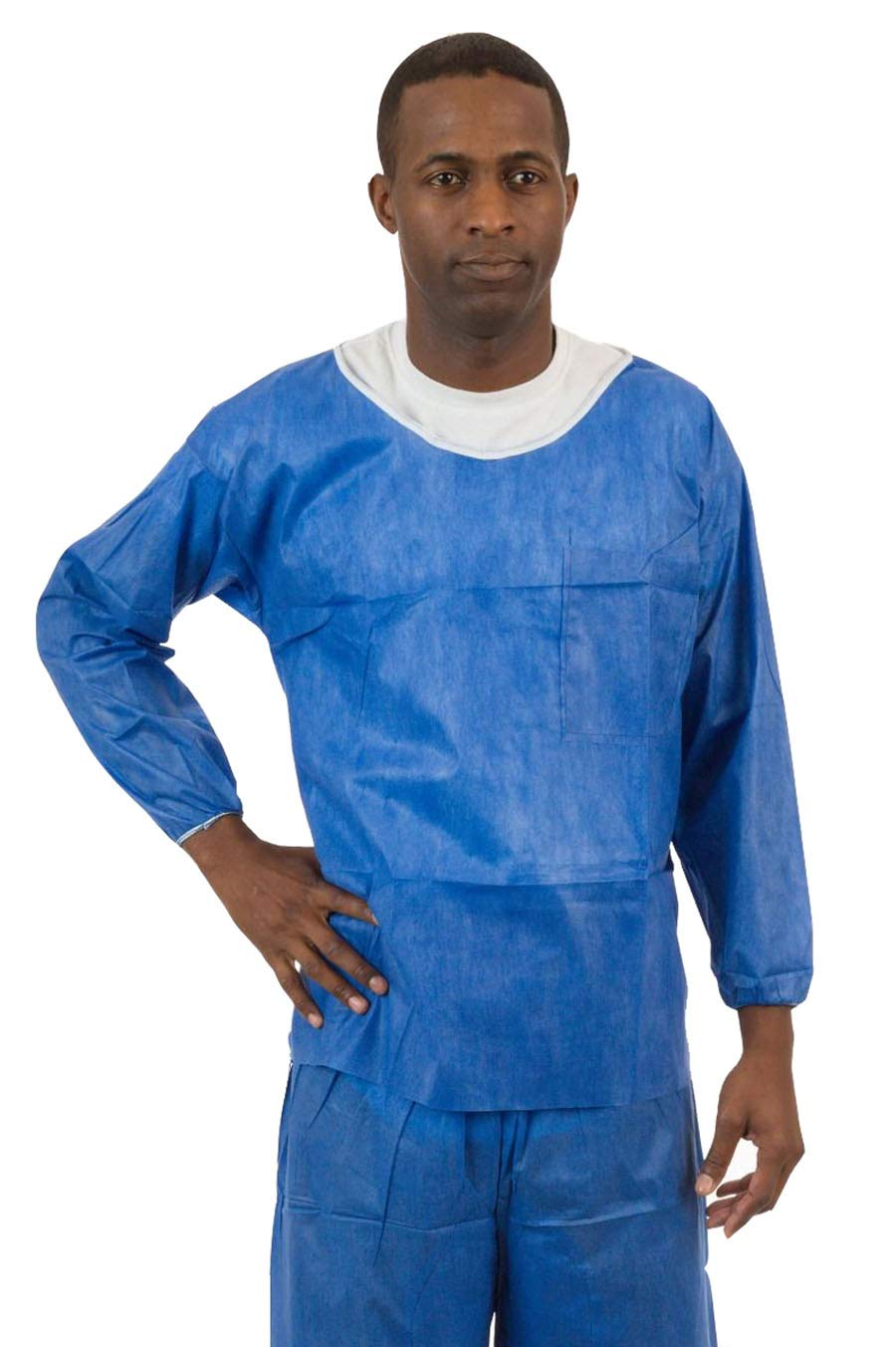 International Enviroguard Soft Scrubs | Protective Disposable Scrub Shirts & Pants for Men and Women | Blue, Pack of 50 (M, Long Sleeve Shirt)