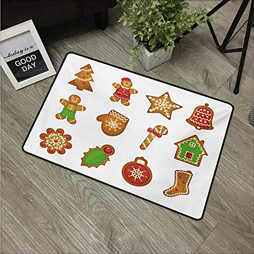 Biscuit Accord - HRoomDecor Gingerbread Man,Outdoor Floor Mats Various Biscuits in Different Shapes Delicious Bakery Goodies W 24