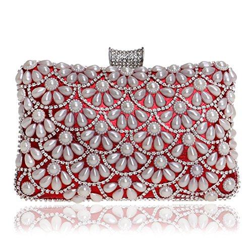 Dress Red Evening Dinner Banquet Bag Clutch GROSSARTIG Women's Pearl 17Cwq7Y8