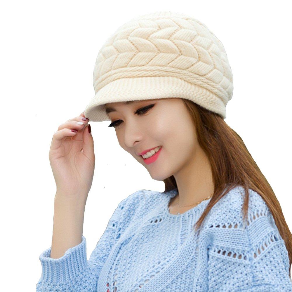 354f195ec60b05 Zgllywr Women Ladies Winter Warm Knit Hat Wool Snow Ski Newsboy Caps with  Ears Visor Hats Fashion at Amazon Women's Clothing store: