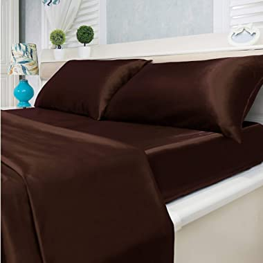 4-Piece Super Soft Silky Satin Bed Sheet Set, Multiple Colors (King, Coffee)