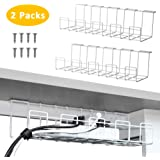 2 Packs Cable Management Tray, 16 inches Under Desk Cable Organizer for Wire Management, Metal Wire Cable Tray for Desks, Offices, and Kitchens (White)