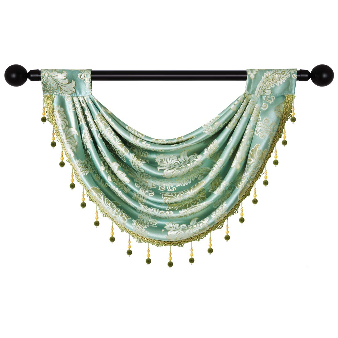 """elkca Jacquard Damask Curtain Valance for Living Room Single Swag Waterfall Valance for Kitchen (Damask-Blue, 30"""" W x 22"""" L,1 Panel)"""