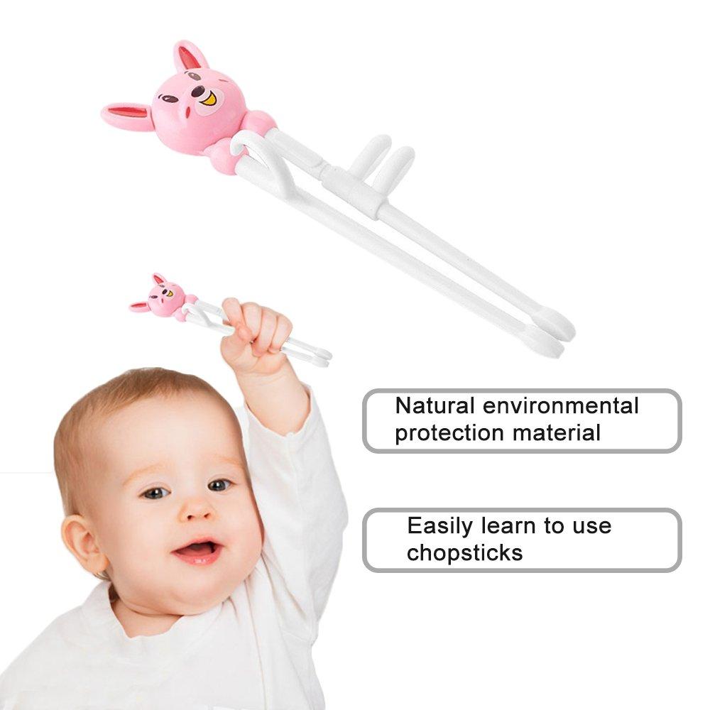 Baby Children Beginner Learning Flatware Anti-slip Right Handed Traning Helper Chopsticks 3 pcs multi color