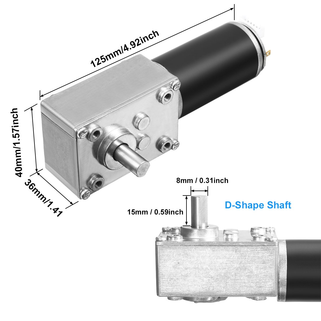 sourcingmap DC 12V 111RPM 4Kg.cm Self-Locking Worm Gear Motor With Encoder And Cable High Torque Speed Reduction Motor