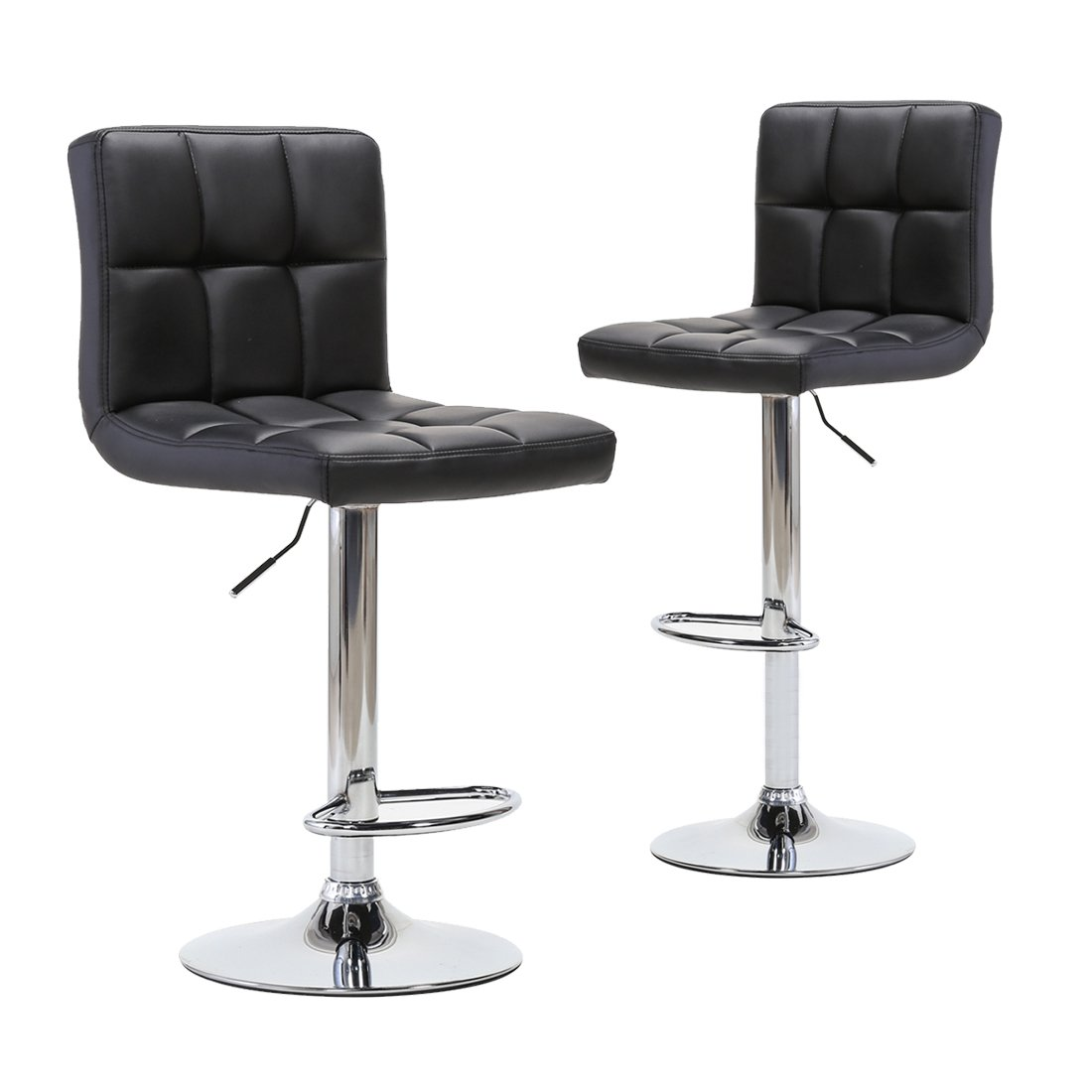 Adjustable Modern Swivel Bar Stools - Counter Height PU Leather Chair for Pub Kitchen by Chiming - ( Set of 2, Black )