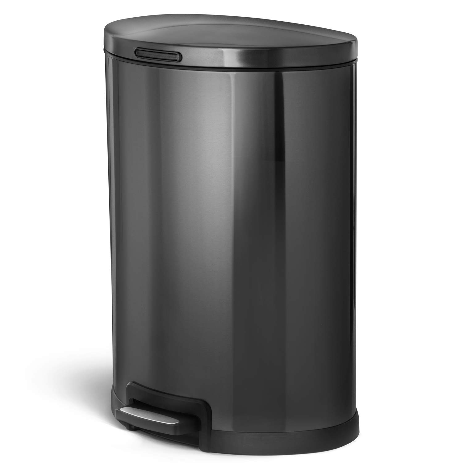 Home Zone Living VA41835A 45 Liter / 12 Gallon Stainless Steel Trash Can, Semi-Round, Pedal (Black),