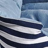 long rich Canvas Pet Bed, Blue White Stripe, Large, by Happycare Textiles
