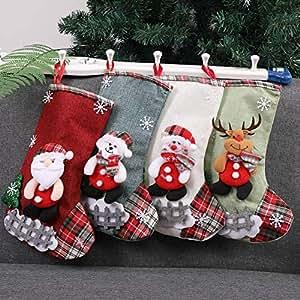 Mini calcetines de Navidad, juego de 4, pequeños calcetines de Navidad, bolsas de regalo y de tratamiento, calcetines de Navidad para árbol de Navidad, decoración del jardín del hogar
