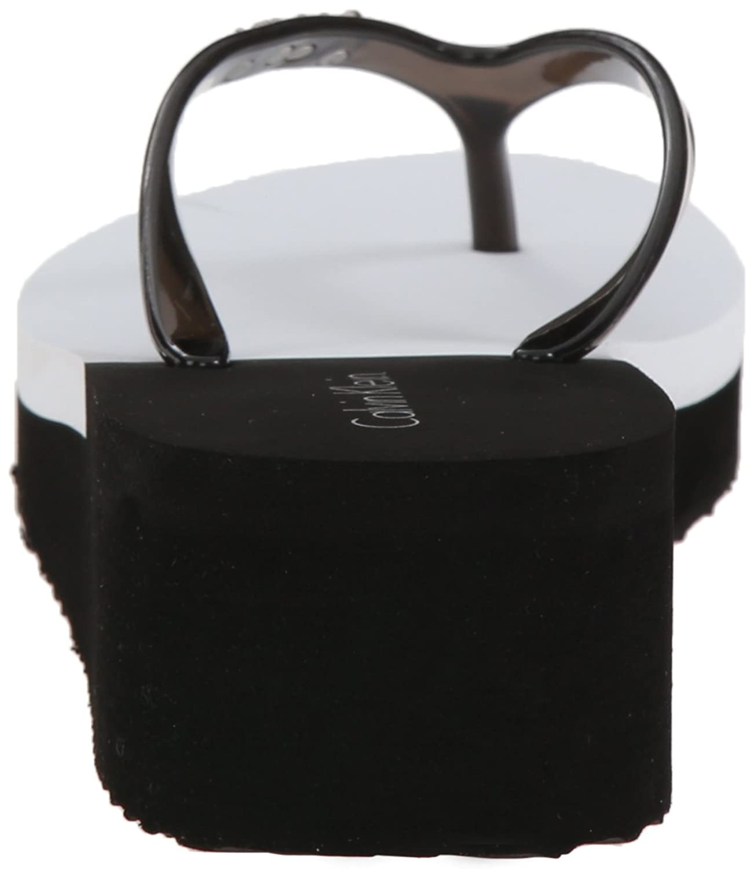 Black sandals ultima online - Amazon Com Calvin Klein Women S Bura Flip Flop Black White 9 M Us Flip Flops